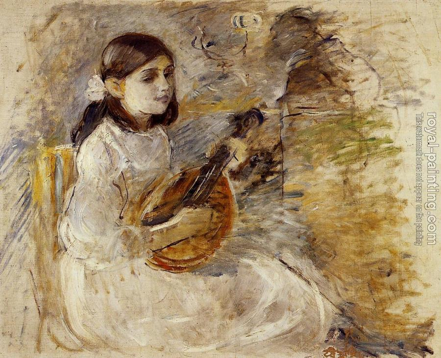 Berthe Morisot : Girl Playing the Mandolin
